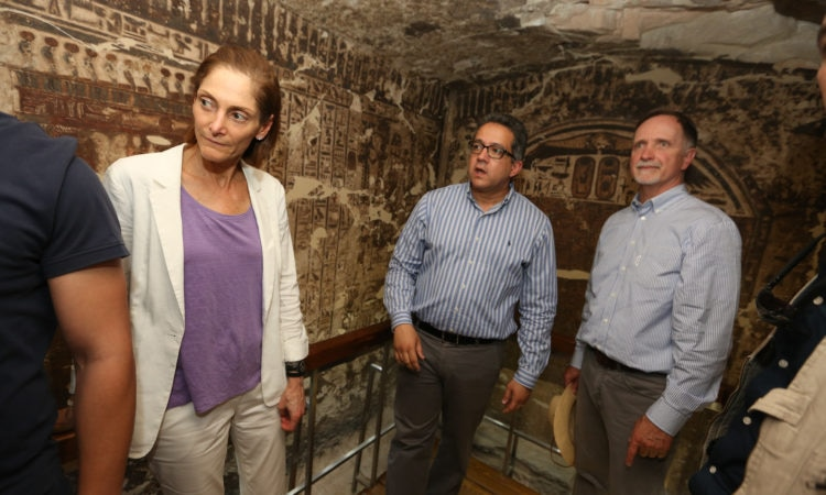 Ambassador Beecroft, USAID Mission Director Carlin, and Antiquities Minister el-Enany toured a USAID-funded restoration project in Luxor.