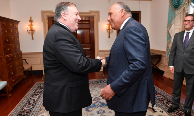 Secretary Michael R. Pompeo hosts a bilateral meeting with Egyptian Foreign Minister Sameh Shoukry, at the Department of State August 8, 2018. [Michael Gross Photo/Public Domain]
