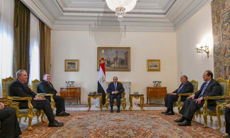 US Secretary of State Mike Pompeo meets with Egyptian President Abdel Fattah al-Sisi in Cairo on January 10, 2019.
