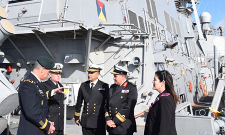 USS Carney Commander Peter Halvorsen (2nd from left) gives a tour of the ship to Major General Ralph Groover, Rear Admiral Ehab Sobhy, Commander Hisham Zaher, and DCM Dorothy Shea.