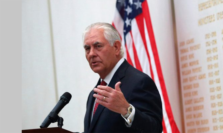 U.S. Secretary of State Rex Tillerson speaks at the U.S Embassy in London. (© AP Images)